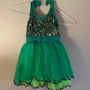 ComeTrue Green and Black Sequin Dance Costume